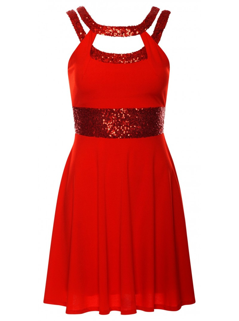 Red Glitzy Sequin Skater Party Dress | Free Delivery to UK & Ireland