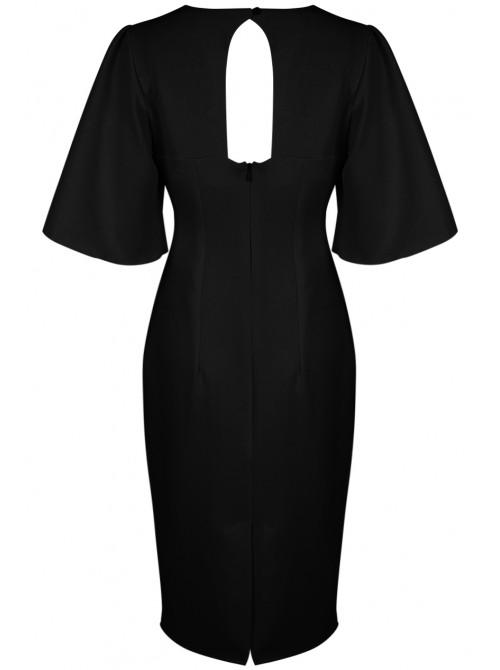 Charlene Bell Sleeves Cut Back Bodycon Dress