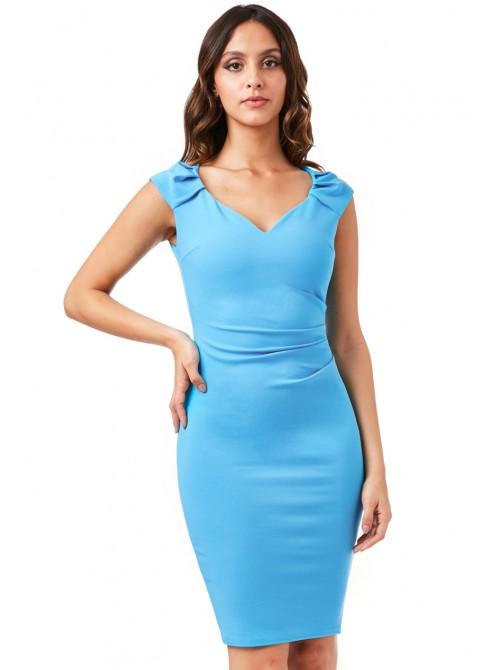 Lexie Turquoise Pleated Midi Dress