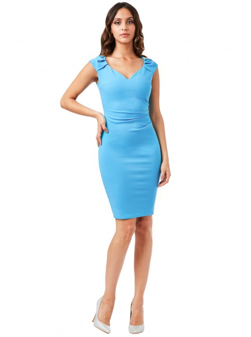 Lexie Turquoise Pleated Midi Dress