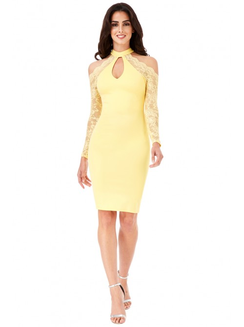 Lucy Lemon Halter Neck Cut Out Midi Dress with Lace Sleeves