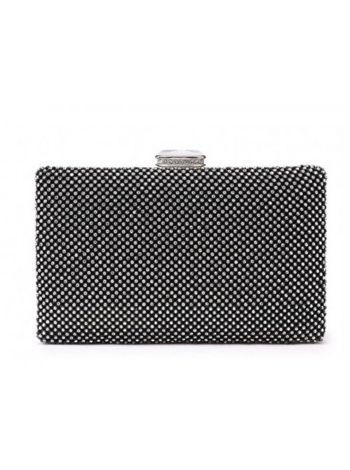 Aria Black Diamonte Case Clutch Handbag