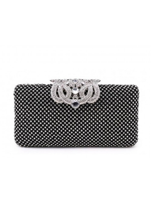Ariel Black Diamonte Intricate Clasp Clutch Handbag