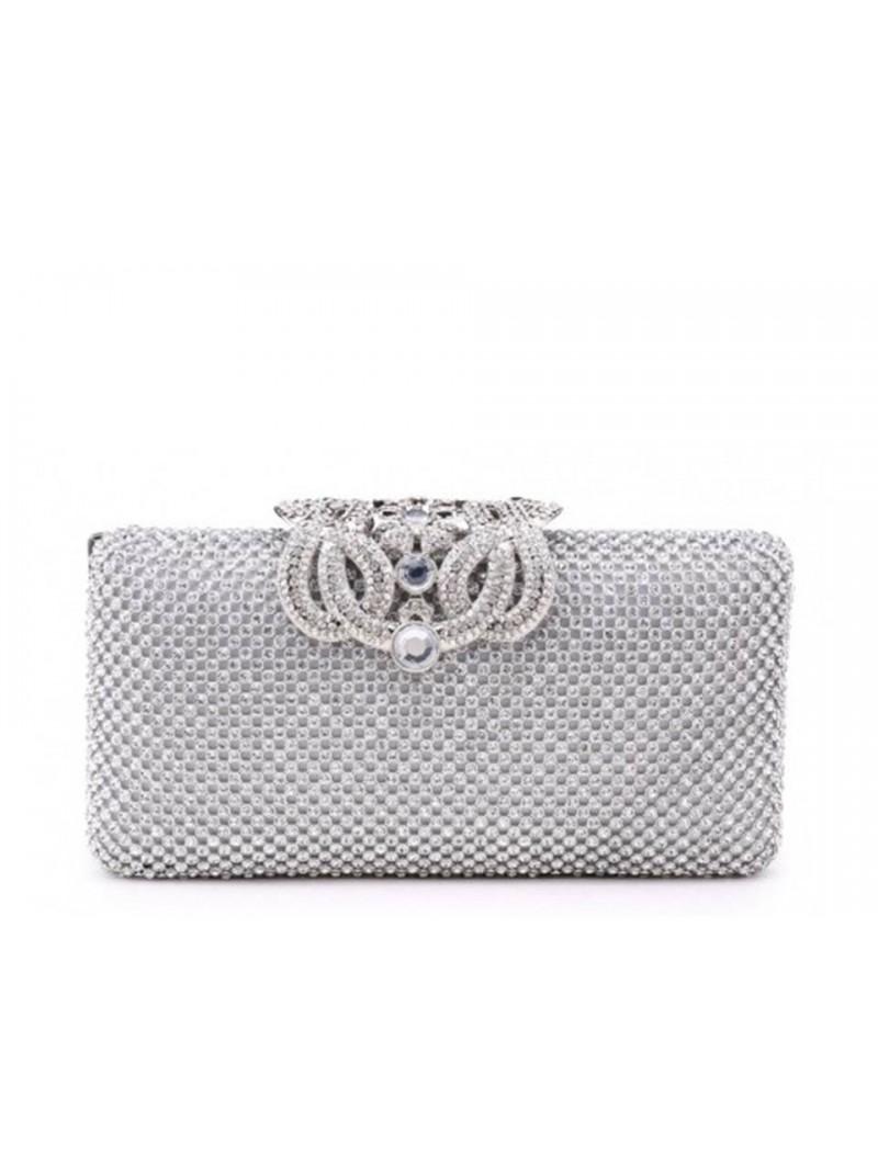 Ariel Silver Diamonte Intricate Clasp Clutch Handbag