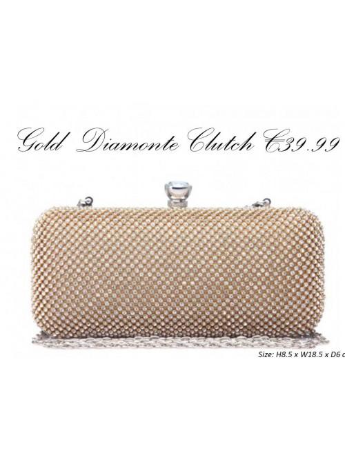 Cleo Gold Diamonte Clutch Handbag
