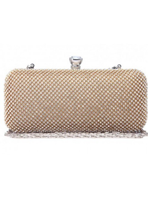 Cleo Gold Diamonte Clutch Handbag