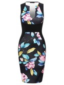 Maisy Black and Floral Multicoloured Sleeveless Bodycon Dress with Side Panels