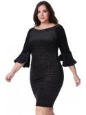 Delta Plus-size Black Velvet Glitter Midi Dress with Bell Sleeves