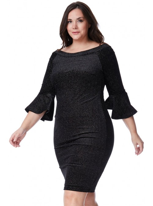 Delta Plus-size Black Velvet Glitter Midi Dress with Bell Sleeves