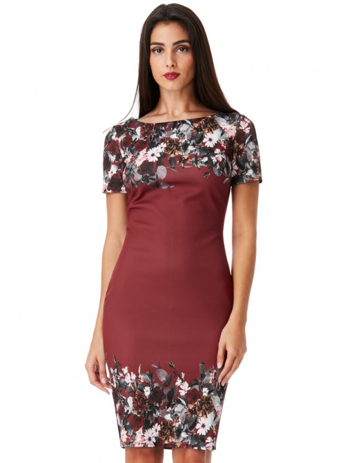 Andrea Wine floral print Midi Dress with short sleeves