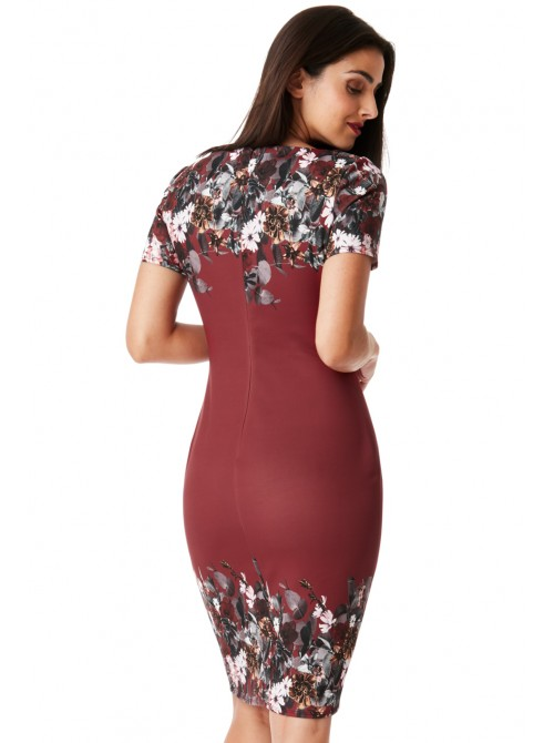 Andrea Plus-size Wine floral print Midi Dress with short sleeves