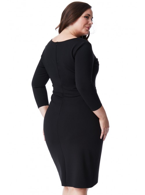 Lucy Plus Size Black 3/4 Sleeve Waterfall Midi Dress