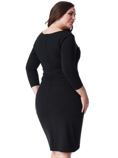 Lucy Plus Size Black 3/4 Sleeve Waterfall Midi Dress