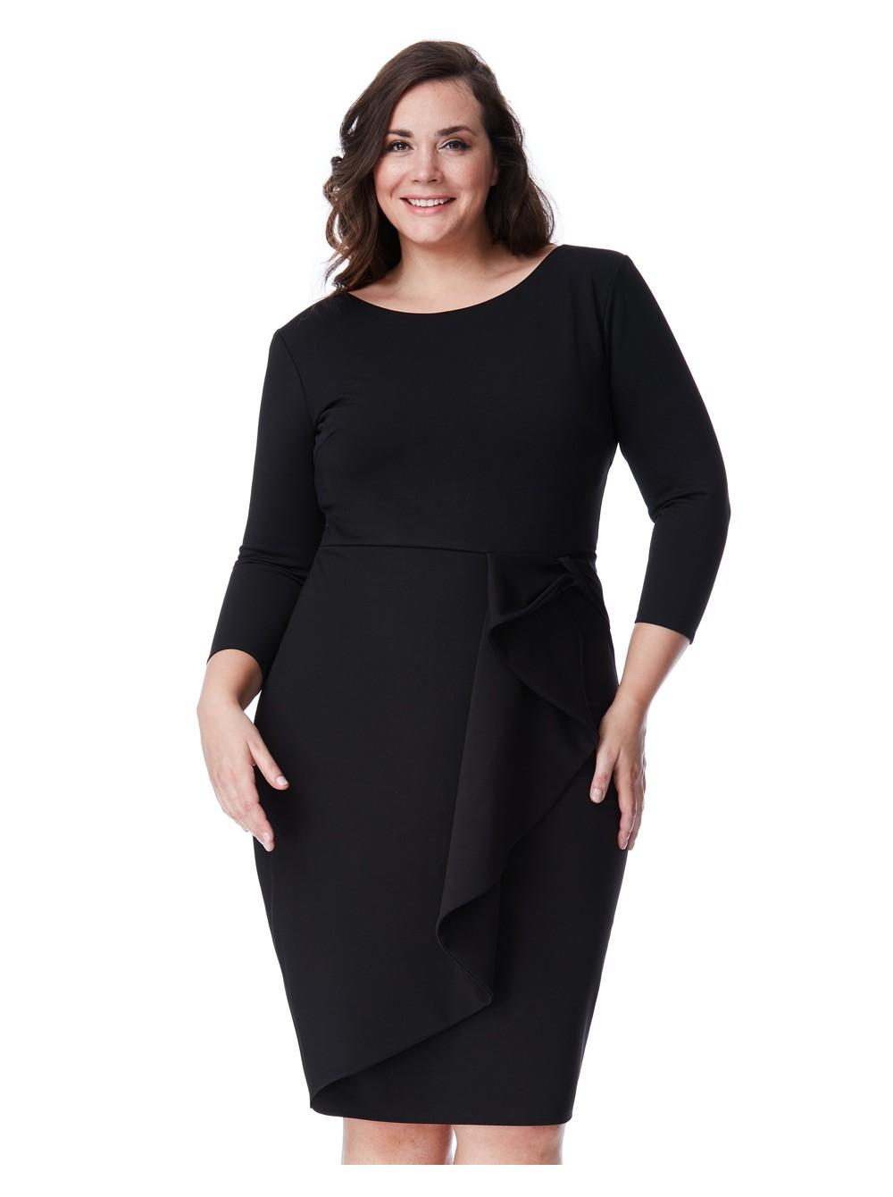 Lucy Black 3/4 Sleeve Waterfall Midi Dress
