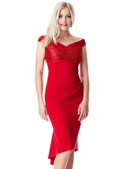 Lana red fishtail hem midi dress