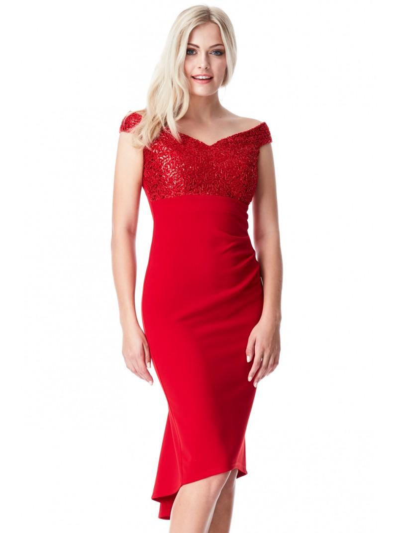 Lana red fishtail hem midi dress