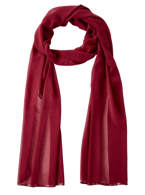 Annabelle Wine Chiffon Scarf with bead detail