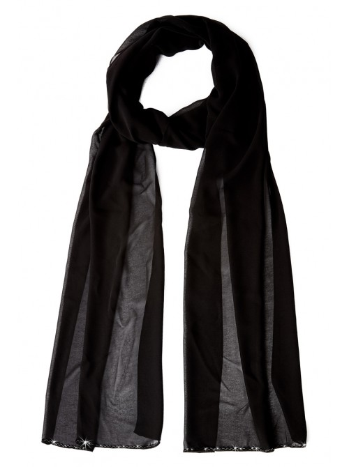 Annabelle Black Chiffon Scarf with bead detail