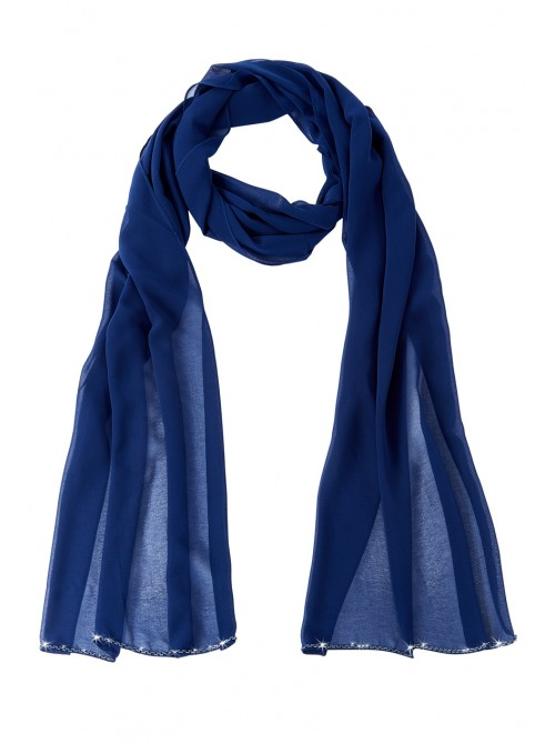 Annabelle Navy Chiffon Scarf with bead detail