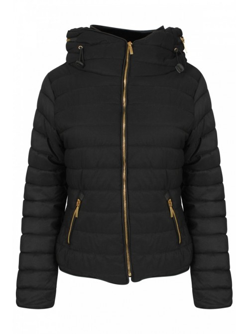 Kellie Black Plus Size Quilted Padded Puffer Bubble Jacket