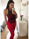 Abbie Red Crochet trim halter neck Jumpsuit
