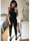 Abbie Black Crochet trim halter neck Jumpsuit