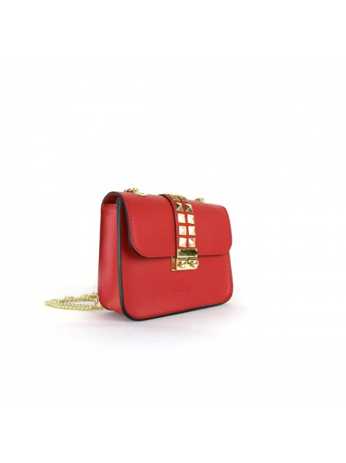 Eleanor Real Leather red satchel crossover bag