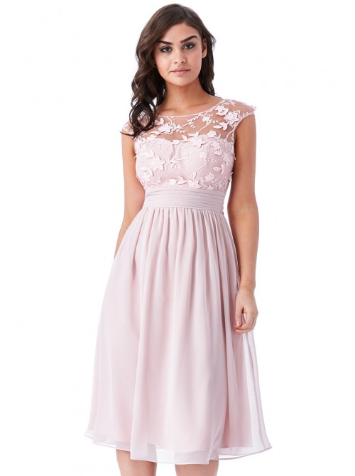 Lily rose light pink chiffon skater midi dress with floral applique mesh detail