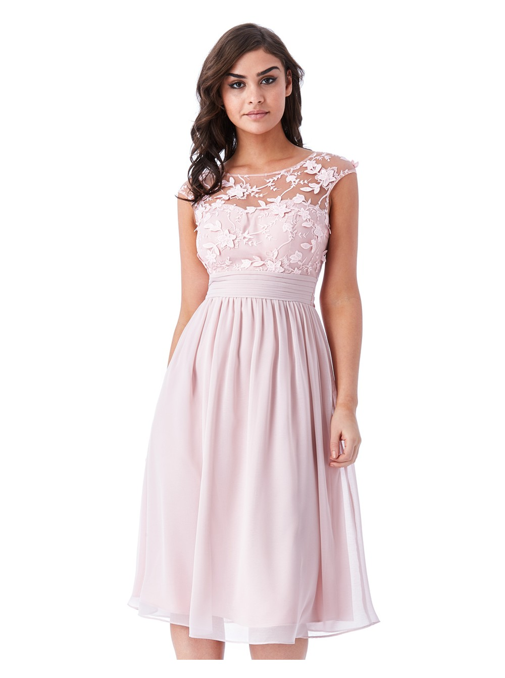 f7026330229d Lily rose light pink chiffon skater midi dress with floral applique mesh  detail. Loading zoom