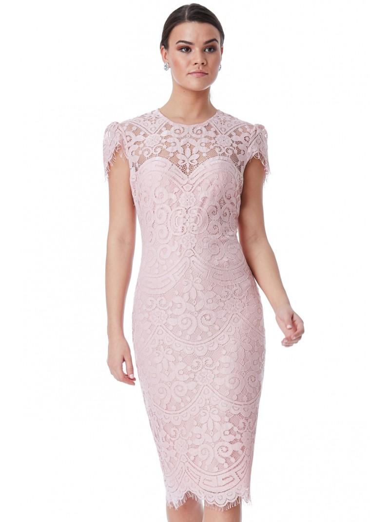 b9f51e7adf Adele blush pink lace cap sleeve midi dress