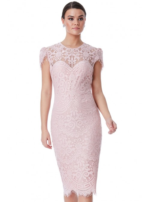 Adele blush pink lace cap sleeve midi dress