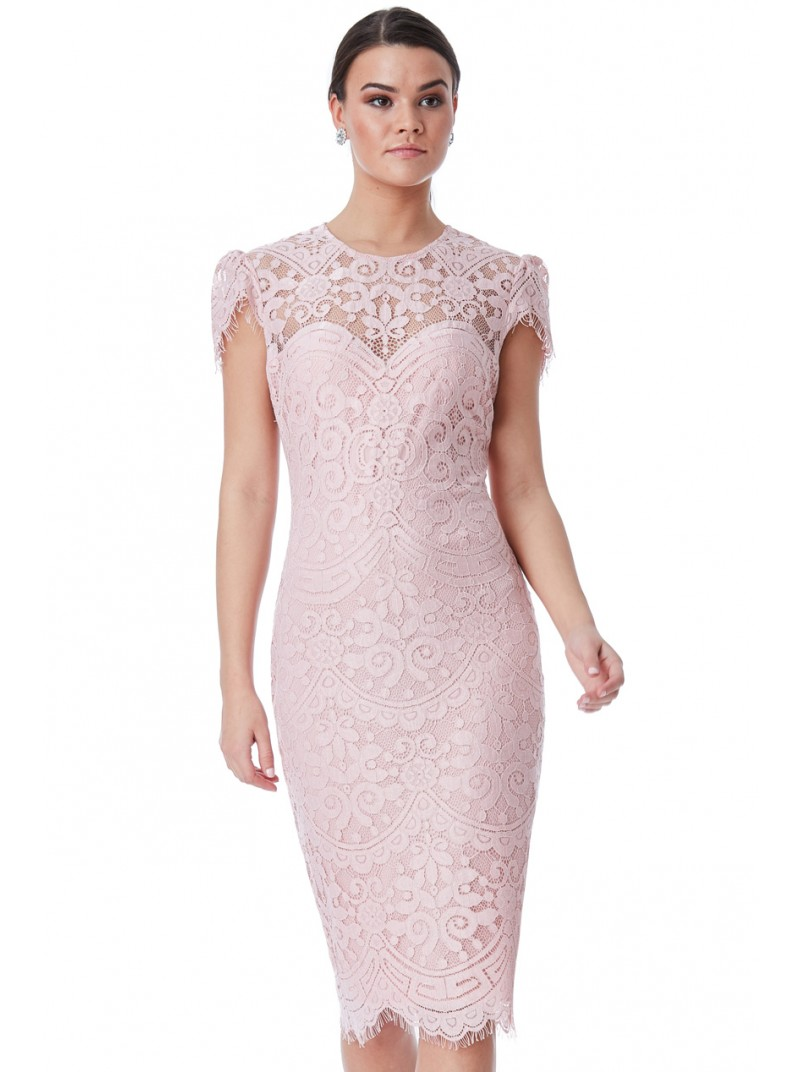 Adele Lace cap sleeve midi dress