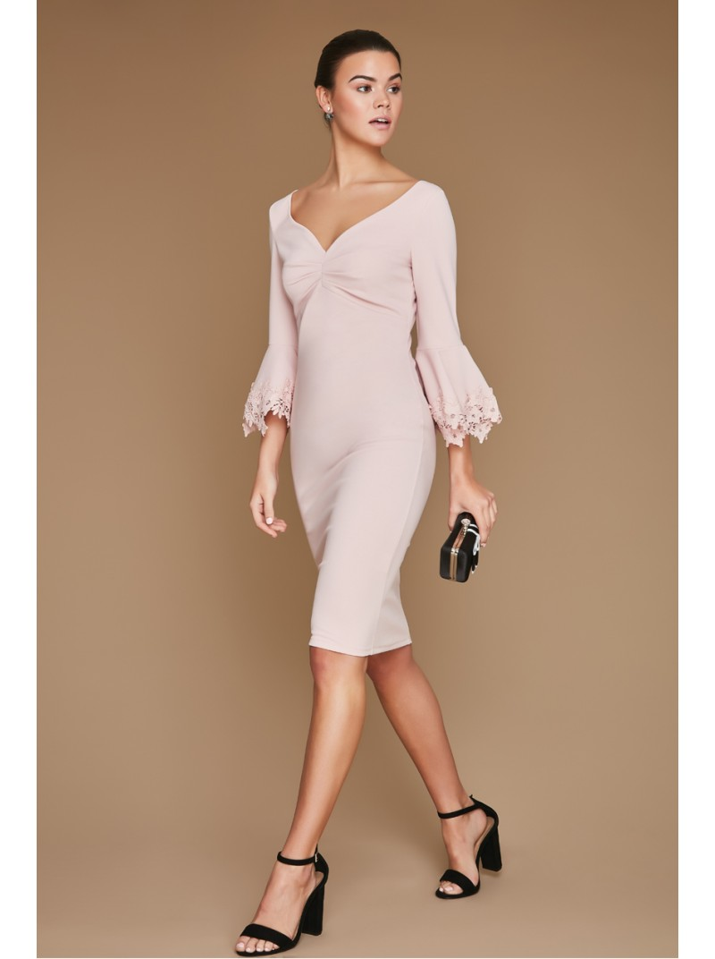 Gemma Rose Pink Midi Dress with Bell Sleeve and floral lace detail