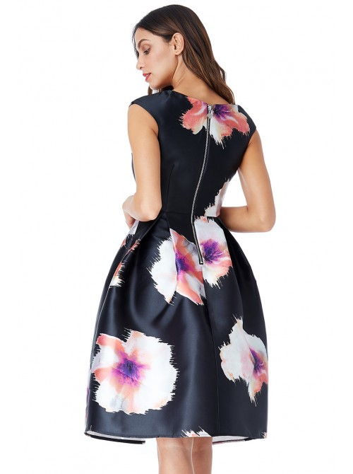 Belle Black Floral Print Satin Skater Dress