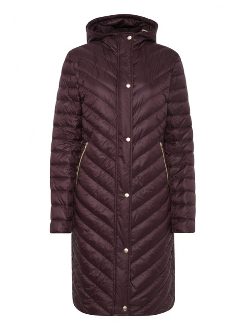 Elsa wine long duck down jacket with hood from byoung