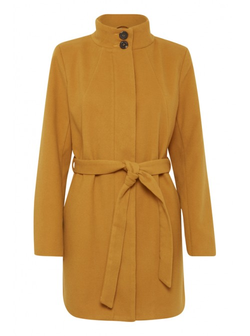 Andrea mustard long wool coat with belt from byoung