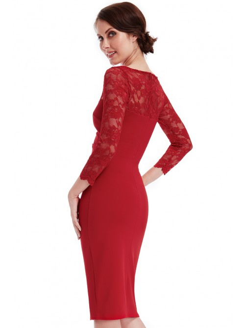 Ruby red scalloped lace neckline fitted bodycon midi dress