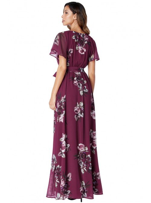 Kylie Magenta wine silky chiffon deep v neck butterfly sleeve maxi dress