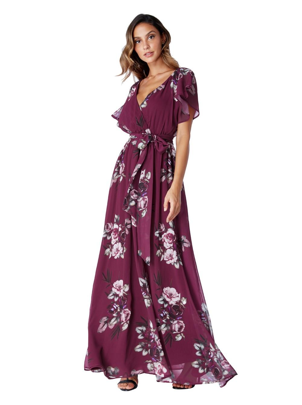 1adc6ff5b593 Kylie Magenta wine silky chiffon deep v neck butterfly sleeve maxi dress