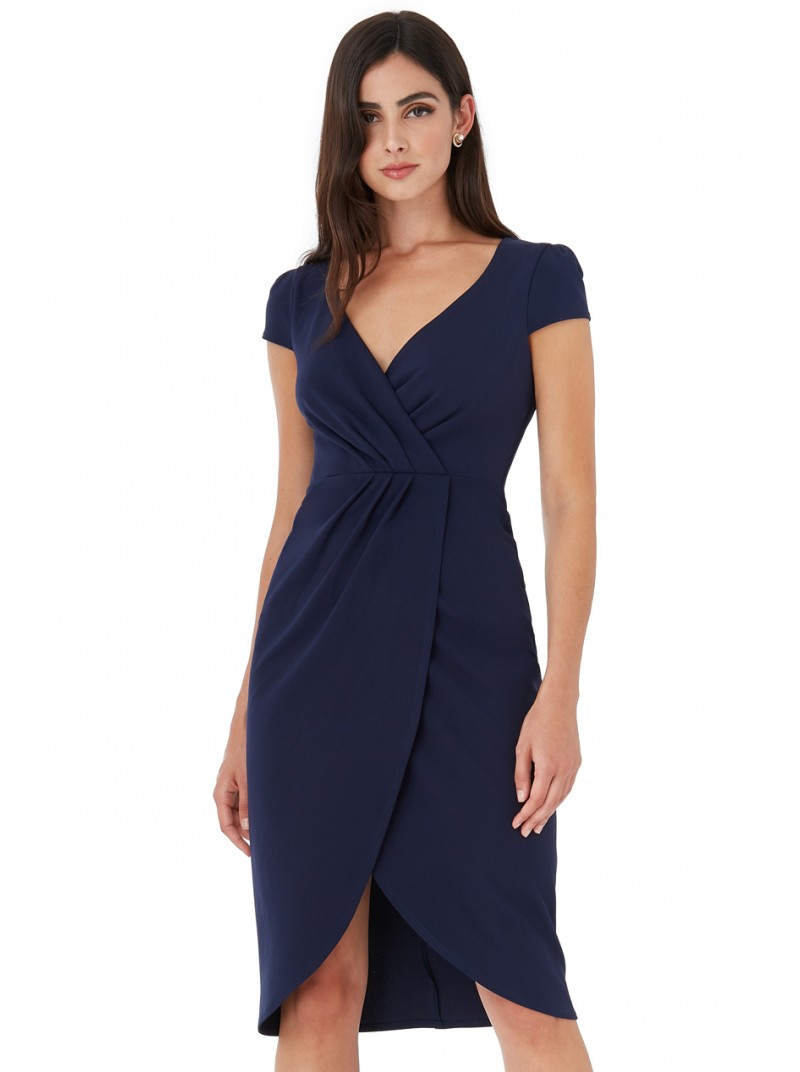 Julieanne navy capped sleeve wrap style midi dress