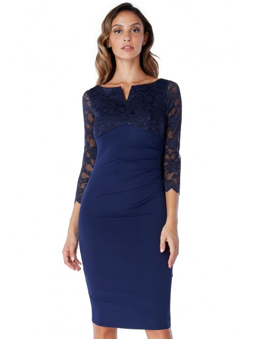 Georgina navy lace sleeve bodycon midi dress