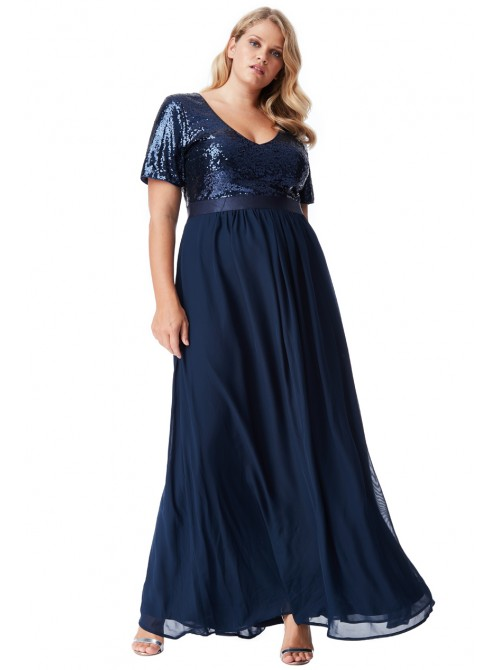 Karina Navy sequin and chiffon maxi dress