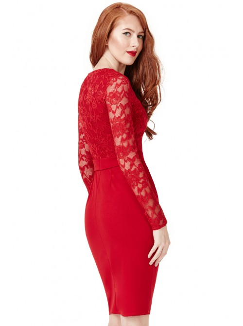 Christina red lace long sleeve midi dress