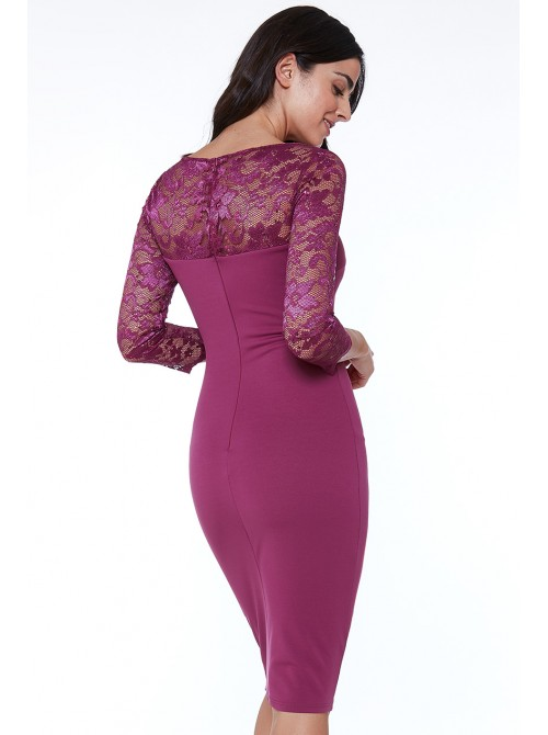 Jasmine magenta purple fitted bodycon midi dress with scalloped lace neckline
