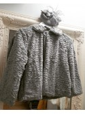 Catrice Silver Grey Cropped Faux Fur Jacket with Collar