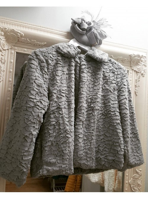 Catrice Silver Grey Cropped Faux Fur Coat Jacket with Collar occasion wear wedding guest