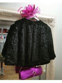 Catrice Black Cropped Faux Fur Jacket
