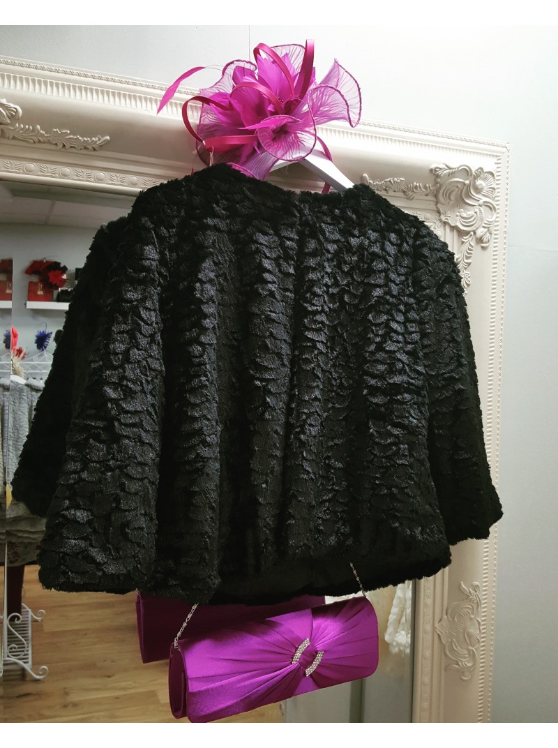 Catrice Black Cropped Faux Fur Coat Jacket with Collar occasion wear wedding guest