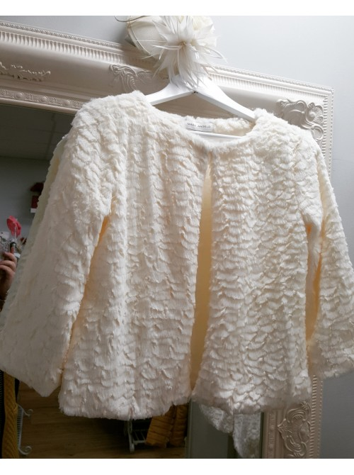 Catrice Cream Cropped Faux Fur Jacket