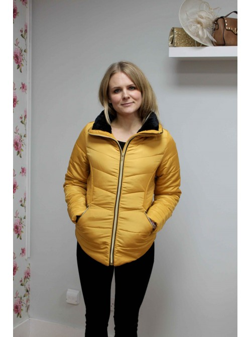 Jessica bYoung mustard puffer jacket padded coat with black fur collar